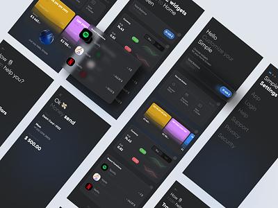 Simple Banking app screens dark ui dark app dark theme ecommerce app ecommerce banking bank app bank mobile app mobile product design product ux ui