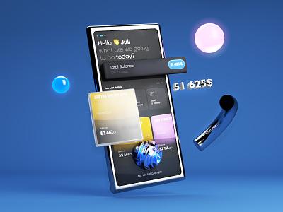 Simple app c4d blue design icons branding mobile ui ux ui 3d modeling 3d art 3d cinema4d interaction illustration