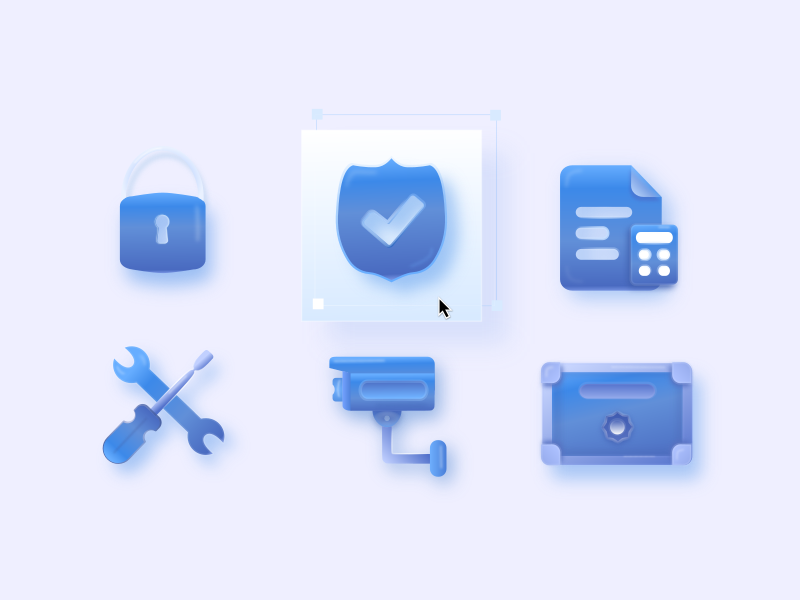 Icons for video surveillance site vector icons design icon design icon set icons pack icon icons blue ui