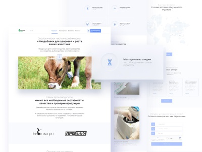 Animals food website cow animal zoo manufacturing manufacture ecommerce catalogue design corporate blue web ux ui