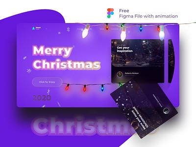 Free FIgma Christmas file with animation celebration celebrate figmadesign figma concept new year xmas card xmas christmas tree christmas card christmas free psd freebie free ux ui