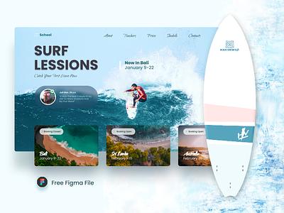 Surf school free file school ocean sea user experience user interface ui uidesign surfer adventure bali website surfing surf free sketch figma freebies freebie free