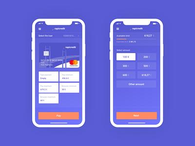 Rapicredit App займ ux ui mobile app microfinance mastercard loan ios illustration finance clean app design clean