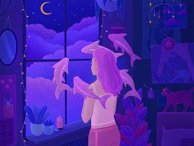 Album Artwork (Bad For You) neon plants room comic art book cover fantasyart ghibli editorial illustration editorial digital illustration anime girl animeart fantasy illustration album art album cover