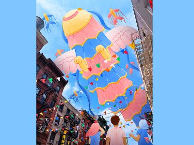 "Pixelmator Pro: ""Creatures of Hope"" character ghibli chinatown asianamerican newyorkcity photoillustration photomontage editorial illustration childrens illustration procreate illustration"
