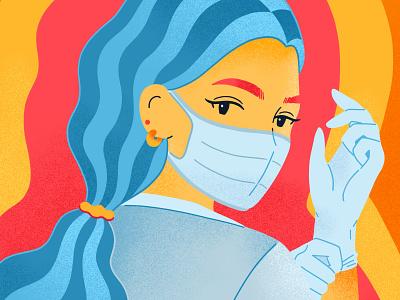 """Bala Footwear: """"No Capes"""" digital illustration character color merchandise commercialillustration female illustration doctor nurse medical"""