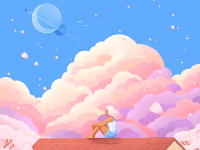 """""""All By Yourself"""" Cover Artwork storybook character fantasy editorial illustration childrens illustration illustration sky nature girl anime"""