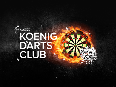 Koenig Darts Club logo branding typography illustration 3d title 3d text design logo