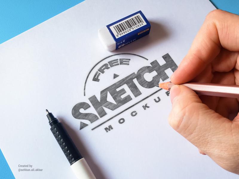 3 FREE Realistic Sketch Mockups presentation design branding identitydesign mockup psd mockup sketchbook logo design sketch photoshop psd mockup