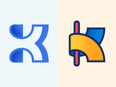 K Lettermarks for 36daysoftype behance dribble illustrator shapes typography graphic design colorful logo vector design minimal