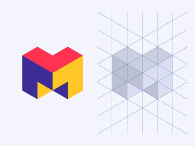 Isometric M Lettermark dribbble best shot grid design grid layout logoinspire logotype branding logo illustrator shapes colorful typography icon vector design minimal