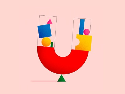 U Lettermark Geometric Shapes ux ui colorful branding graphic design illustration logo vector design minimal