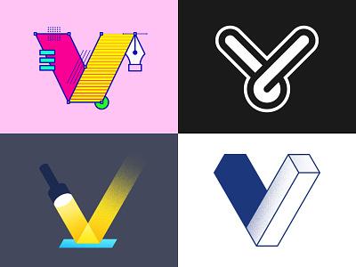 V Lettermark Explorations logoideas behance dribbble photoshop illustrator logo illustration graphic design colorful icon ui branding typography design minimal