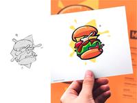 Exploding Burger Illustration