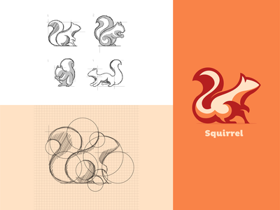 Squirrel Illustration Based on Circular Guides