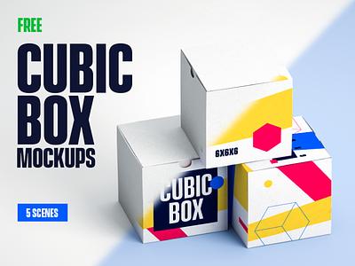 5 FREE Cubic Box Mockups package mockup packaging package design mockup template box mockup mockups psd mockup