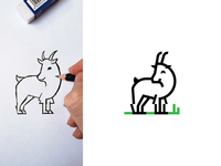 Minimal Monoline baby Goat Logo