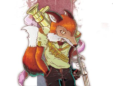 THUG FOX rude shirt thuglife illustration bastianrestrepo bs ammo guns orange fox