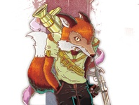 THUG FOX rude shirt thuglife illustration bastianrestrepo bs ammo guns orange fox