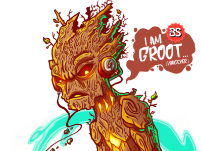 I am Groot... gameboy videogame surfing guardians of the galaxy groot fantasyart conceptart illustration bs bastianrestrepo
