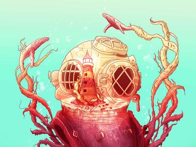 Aqualung shine jewel lighthouse scuba concept art deep sea corals whales bubbles water bastian restrepo aqualung