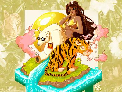 La Negra Dreams flowers girl isle smoke tiger bear beach water dreams yellow girlfriend bastian restrepo