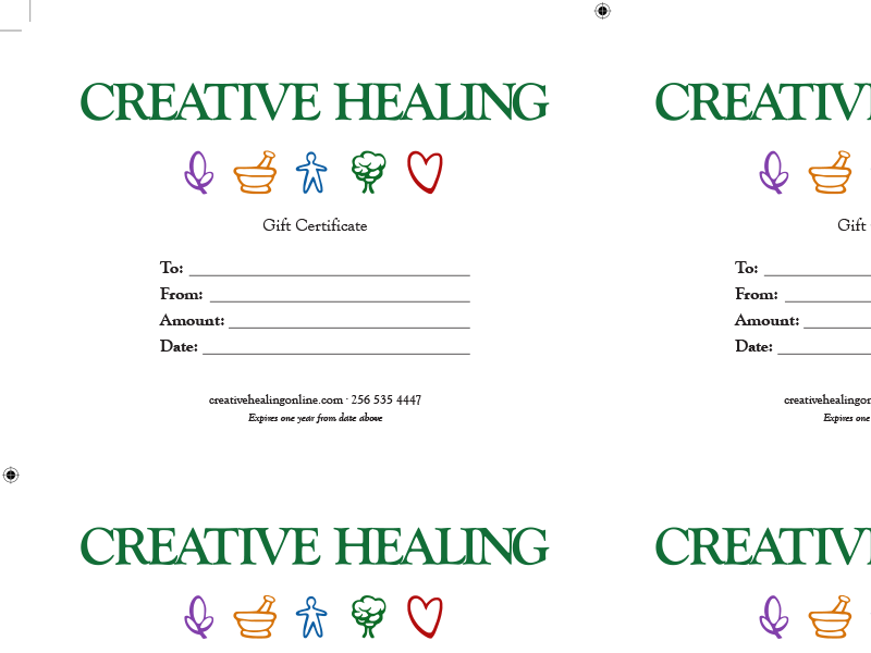 Creative healing gift certificate