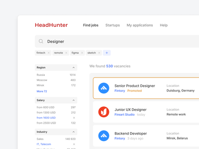 📋 Find a job — HeadHunter Concept application headhunter user interface web vacancies vacancy ui search box search results search engine search bar search jobs fintech find finance filter dashboard app ui app