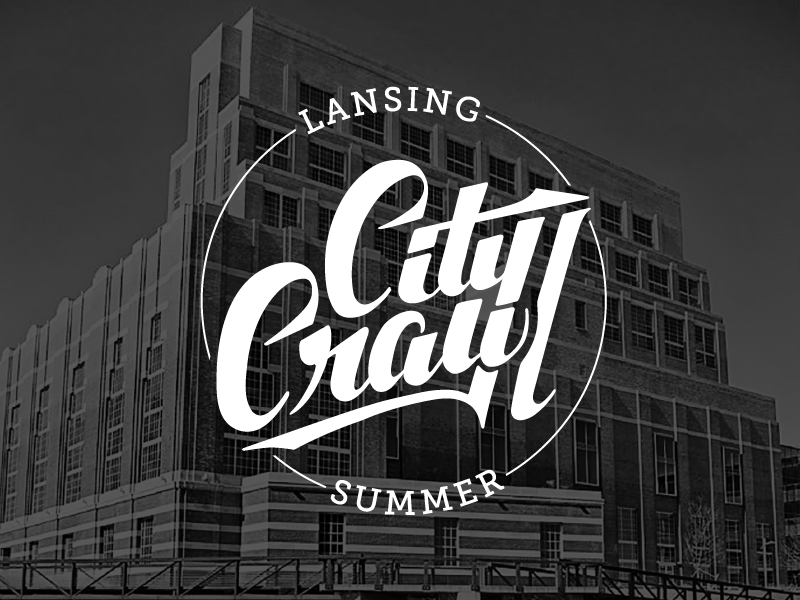 City Crawl Lansing calligraphy city calligraphic logo lansing logo