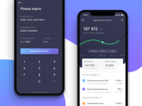 App Concept Pension Fund iphone x ux ui app feed ios graph history fund dashboard cards