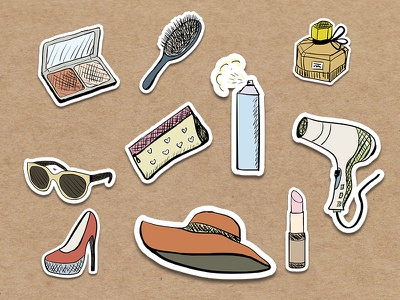 Lady's Stickers draw set stickers things lady