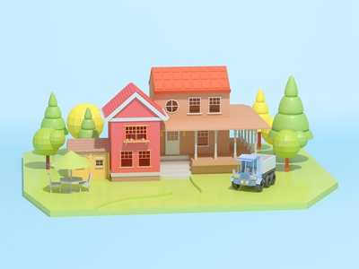 C4D house modeling ideal home