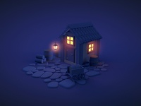 Cabin -c4d lights in the woods