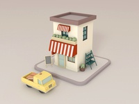 C4D modeling - small cafe and delivery van