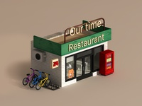 C4D model - Restaurant hut