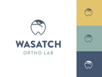 Wasatch Ortho Lab brandon grotesque yellow blue branding logo icon design dental wasatch dentist orthodontics mountain tooth