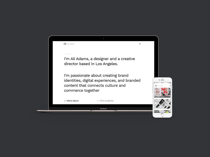 Ali Adams portfolio web website digital branding ali adams