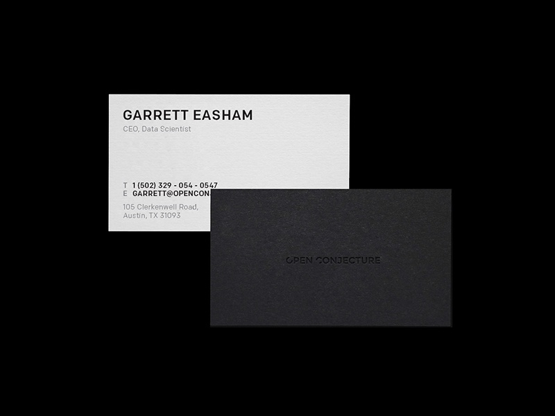 Open Conjecture Business Cards intelligence artificial open conjecture personal portfolio ali adams identity brand branding brand identity stationary