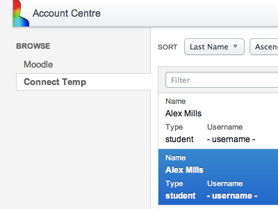 Account Centre moodle account account management web app