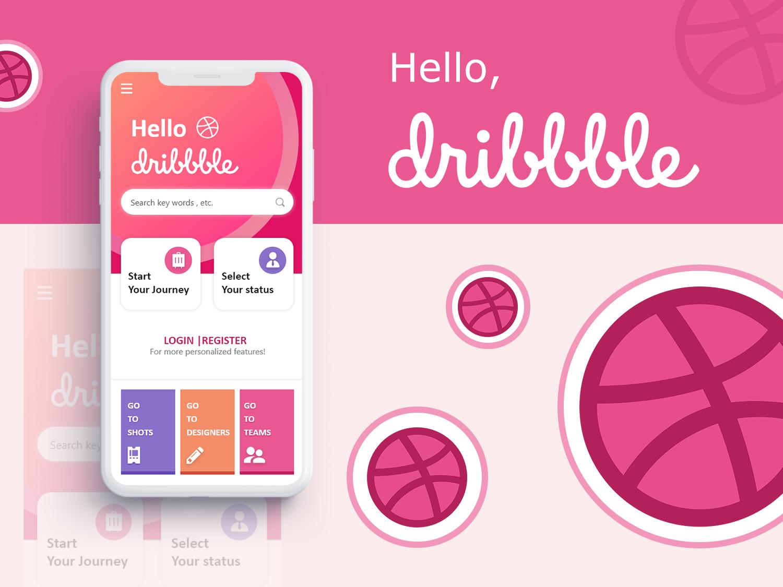 Hello Dribbble !!! branding flat app ui design mobile illustration hello dribbble