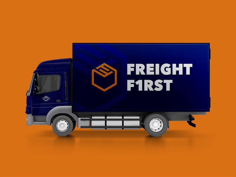 Freight First: Box Truck truck industrial logo branding