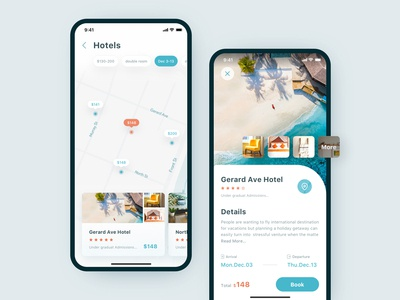 A group of hotels to book the interface