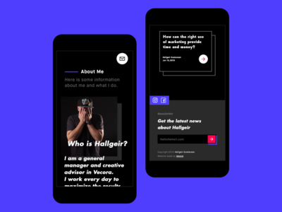 About Us & Blog for Hallgeir — Mobile Design