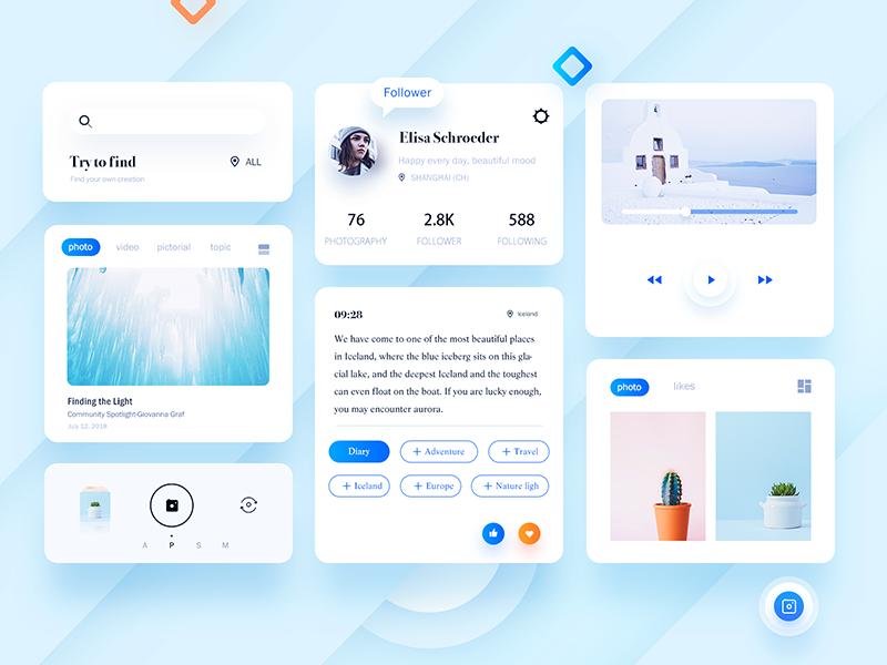Travel app Kit social blank blue travel kit icon design ui app