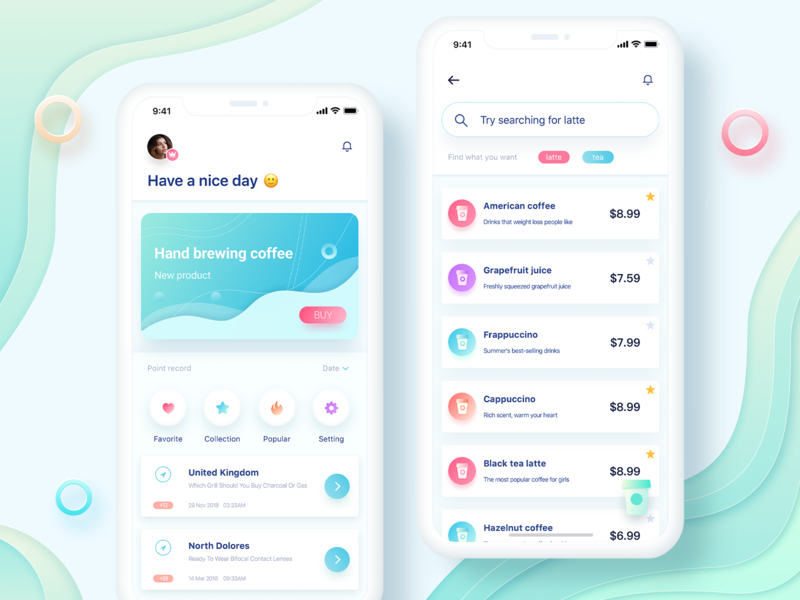 Drink selection concept product clean blue color ui design social physical illustration font app