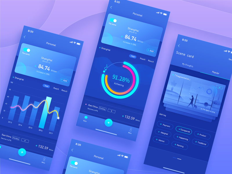 Data App data ui blue design physical color app