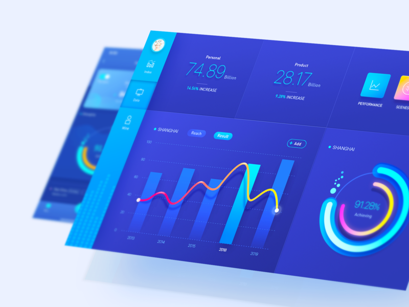 Data backend system vector data blue ui design physical color app