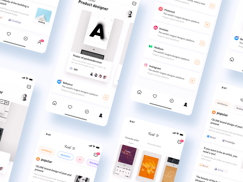 Read App typography clean app design physical blue social design vector color illustration app