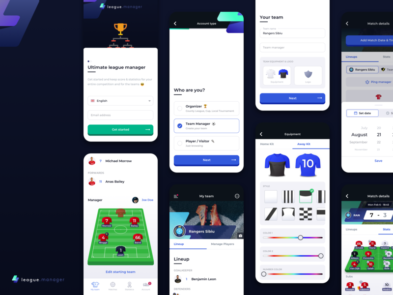 4league.manager - League & Team Manager Football App app design mobile app design mobile app team manager jersey builder kit builder football kit football sport sports app team manager app league app soccer app football app soccer football league