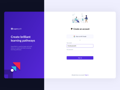 SuperPath - Create Account and Register Screen onboarding google superpath sign in sign up register create account